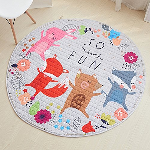 YJ.GWL Kids Play Rug,Cute Cartoon Fox Playmat Rug With Non-Slip Backing Great For Nursery Baby,Ideal Gift For Kids Bedroom Play Room Classroom,58'' x 58'' by YJ.GWL