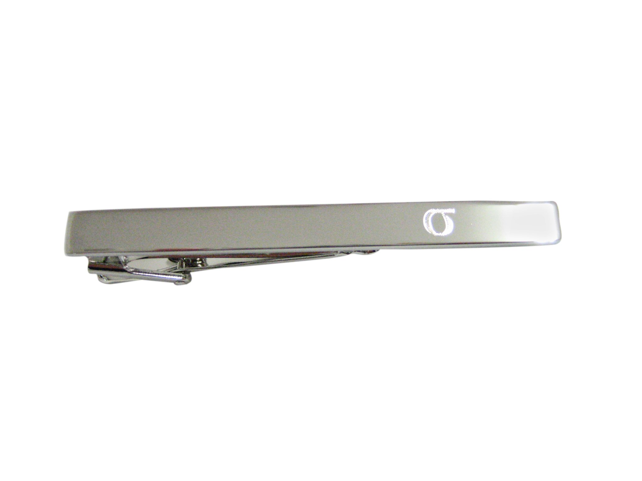 Silver Toned Etched Greek Lowercase Letter Sigma Square Tie Clip