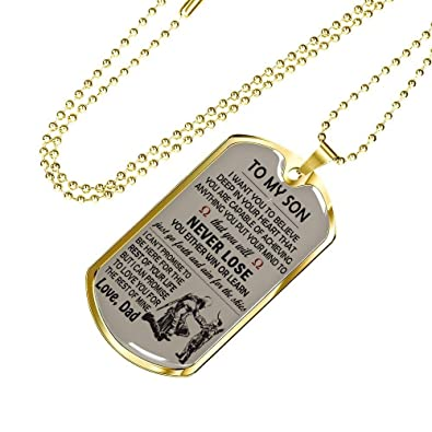 To My Son Dog Tag Personalized - Soldier Necklace Chain From Dad - Father  Son Gifts Birthday Christmas Gag Gift Pendant Jewelry Silver/Gold