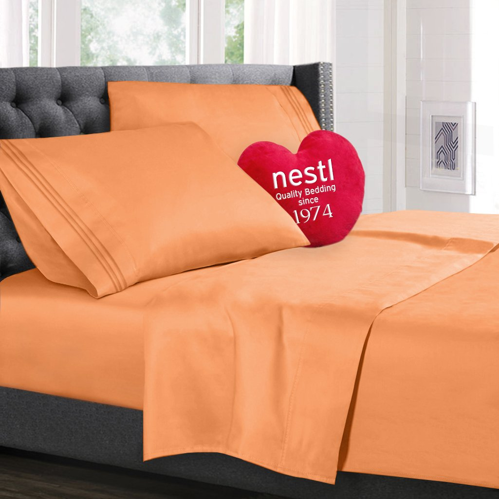 Bed Sheet Bedding Set, Full Double Size, Apricot Buff Orange