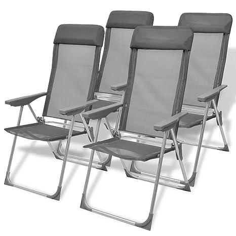 Festnight Juego de 4 Sillas de Camping Estructura de Aluminio ...