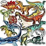 Iron On Patches, Muscccm 15 Pcs Embroidered Dinosaur Patches Applique Kit Assorted Size Decoration Sew On Patches for Clothing, Jackets, Backpacks, Jeans