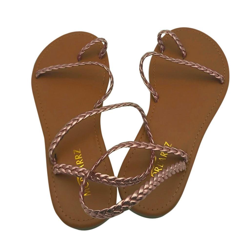 Women Slippers Summer Strappy Gladiator Low Flat Heel Flip Flops Beach Sandals Shoes
