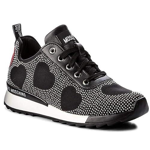 Moschino Scarpe Donna Sneaker Running Love Jersey Nero MICROBORCHIE Silver  D19MO05 604cbee20b3
