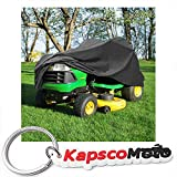North East Harbor Deluxe Riding Lawn Mower Tractor Cover Fits Decks up to 54'' - Dark Grey - Water, Mildew, and UV Resistant Storage Cover + KapscoMoto Keychain