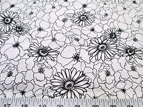 Cotton Keepsake (Swatch Sample Fabric Quilting Cotton Keepsake Calico Poppy Stitch White and Black Floral T13)