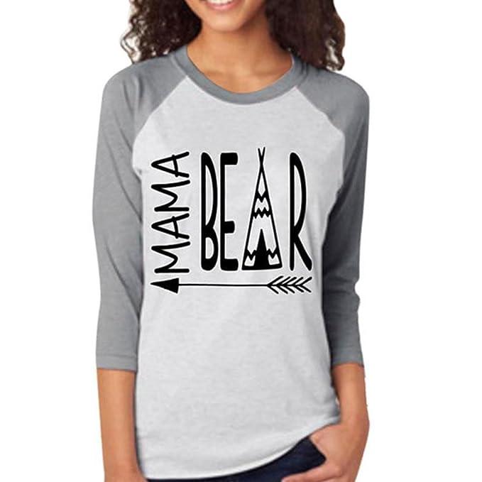Vin beauty wlgreatsp Manga para Mujer Mom Oso Flecha Largas O Cuello Causal Blusa de La Tapa Floja Camiseta de La Camiseta: Amazon.es: Ropa y accesorios