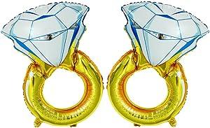 GOER 2 Pcs Diamond Engagement Ring Mylar Balloons,Giant 45 inch Helium Balloons for Bridal Shower Bachelorette Party Supplies