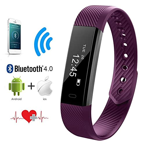 QIMAOO Fitness Activity Tracker, Heart Rate Monitor Bluetooth 4.0 Wrist Band Bracelet Smart Watch Wristband with Health Sleep Monitor/Pedometer/Calorier for Android or IOS Smartphones