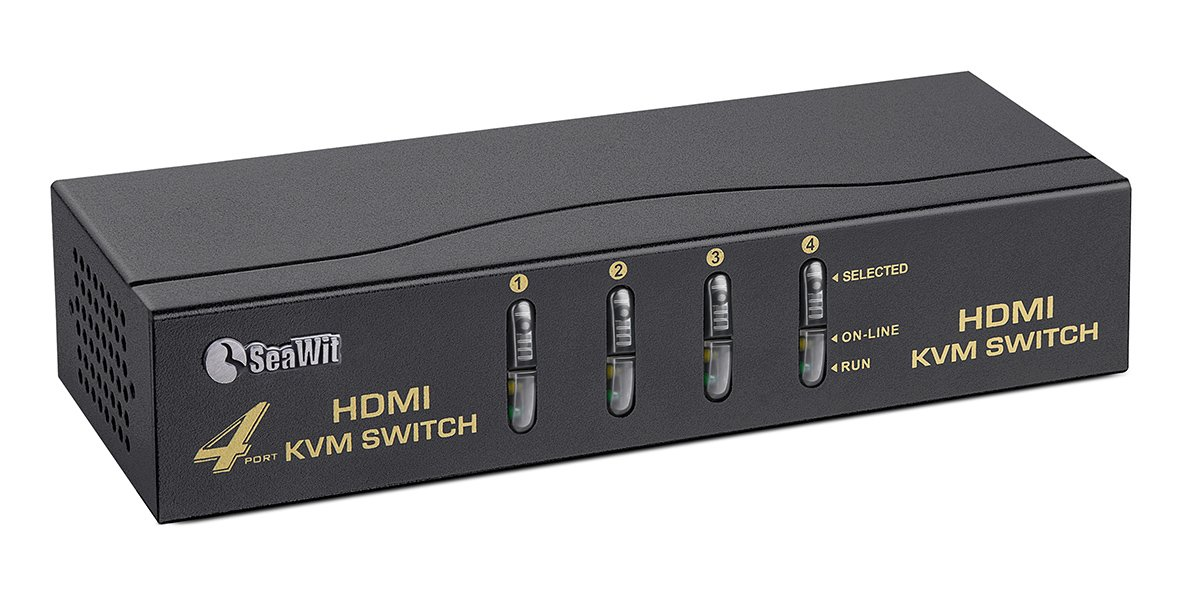 Sea Wit 4 Port HDMI Switch,KVM Switch with Cable Kit and Supports HDCP 1080p 3D and Auto Scan,for Windows /XP/Vista Linux and Mac-Black