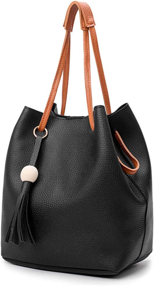 Donne Borsa Borsa di Cuoio delle Donne di Modo dell'unità di Elaborazione + Shoulder Bag + Purse + Card Holder 4pcs Set Tote Bag (Color : Green) Black