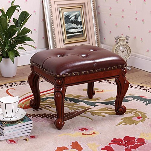 Stools Table Cocktail (HM&DX Small Upholstered Footstool,Leather Footrest Stool with Button 4-Carved Legs European Decor Sofa Coffee Table Stool -Dark Brown)