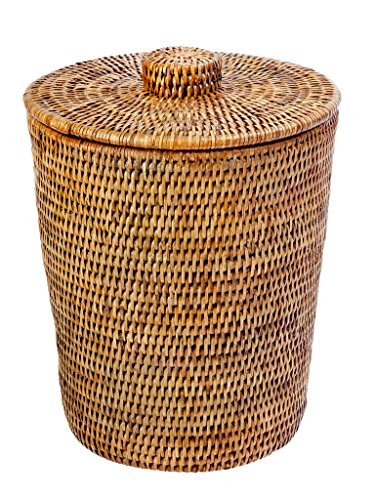 KOUBOO La Jolla Rattan Round Waste Basket with Plastic Insert & Lid, Honey Brown