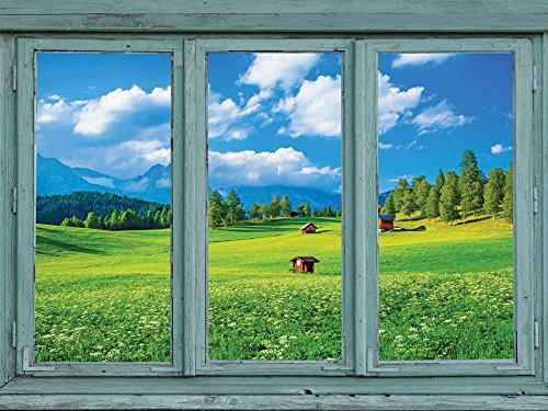 Yellow and Green meadow with a forest and mountains in the distance Wall Mural