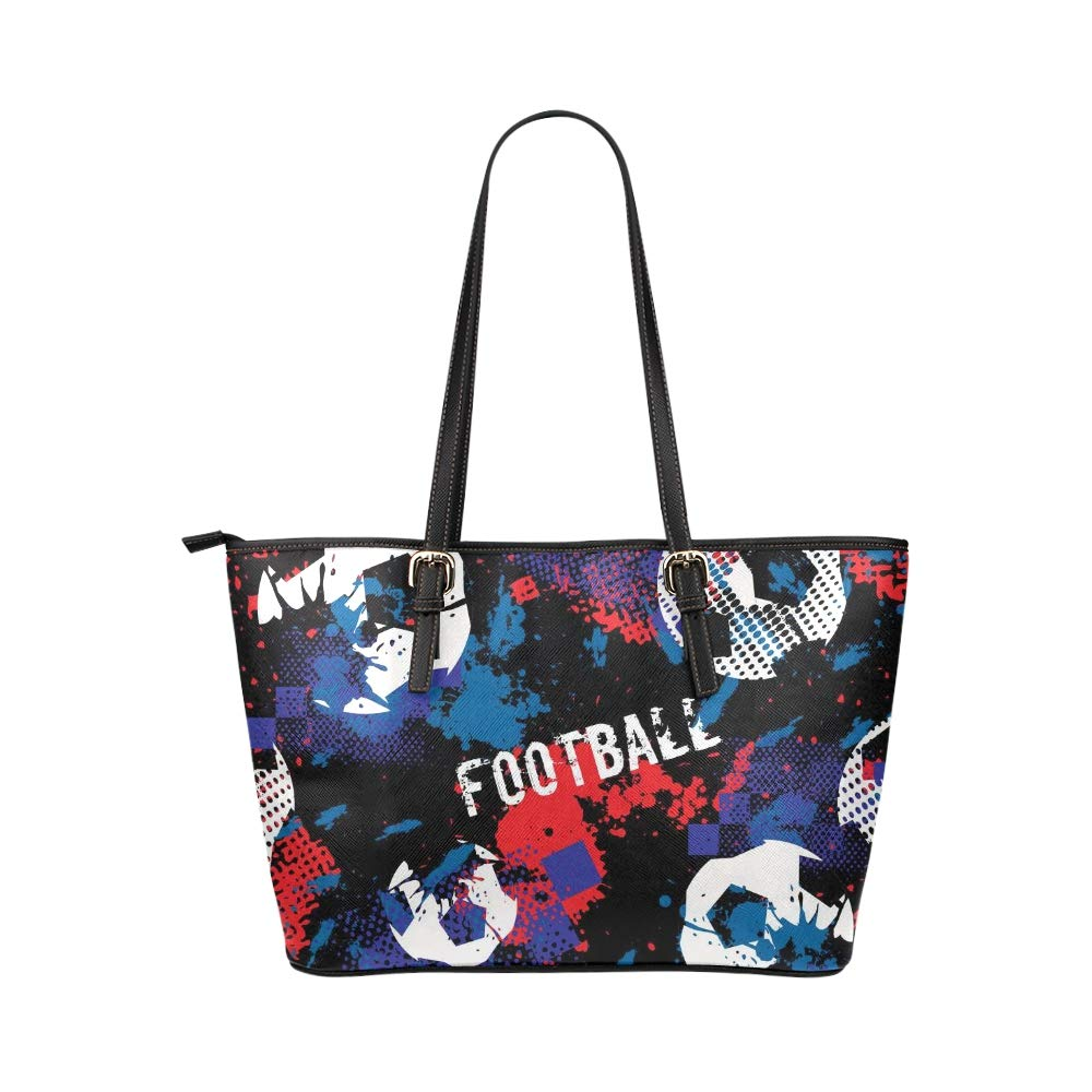 Boy Game Fun Football Sport Large Soft Leather Portable Top Handle Hand Totes Bags Causal Handbags With Zipper Shoulder Shopping Purse Luggage Organizer For Lady Girls Womens Work