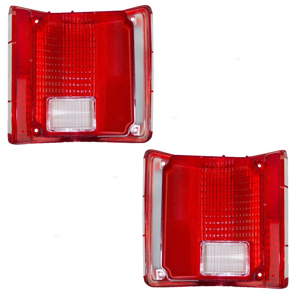 Driver and Passenger Taillights Lens with Chrome Trim Replacement for Chevrolet GMC Pickup Truck SUV 5968329 5968330