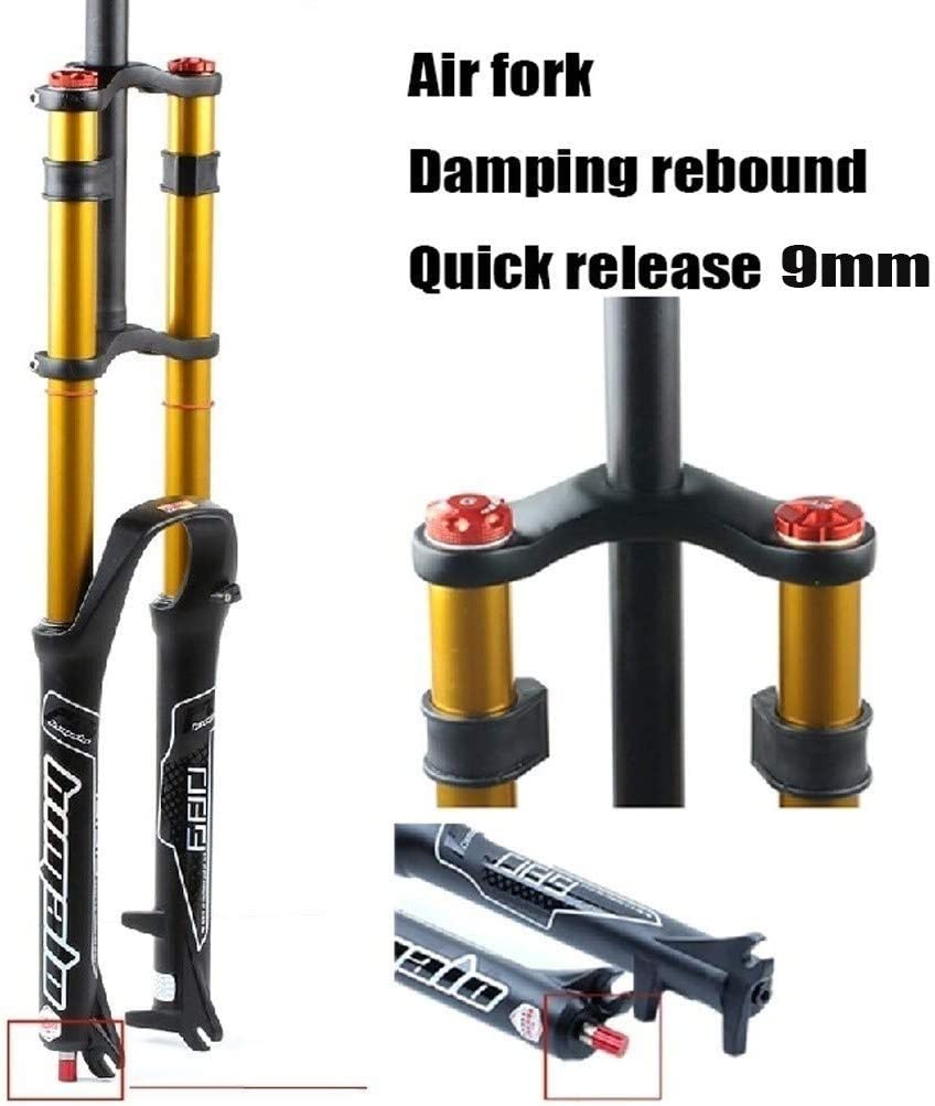 MZP MTB Bike Front Fork 26 27.5 29 Inch Double Shoulder Control Downhill Suspension DH Air Pressure Straight Tube Ultralight Bicycle Shock Absorber Rebound Adjust