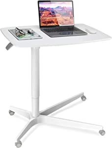 Mobile Laptop Standing Desk Table Height Adjustable Sit to Stand Rolling Cart, 30 inches Wide Desktop with Gas Spring Riser, Excellent Workstation for Offices, Home, Medical and School by HUANUO