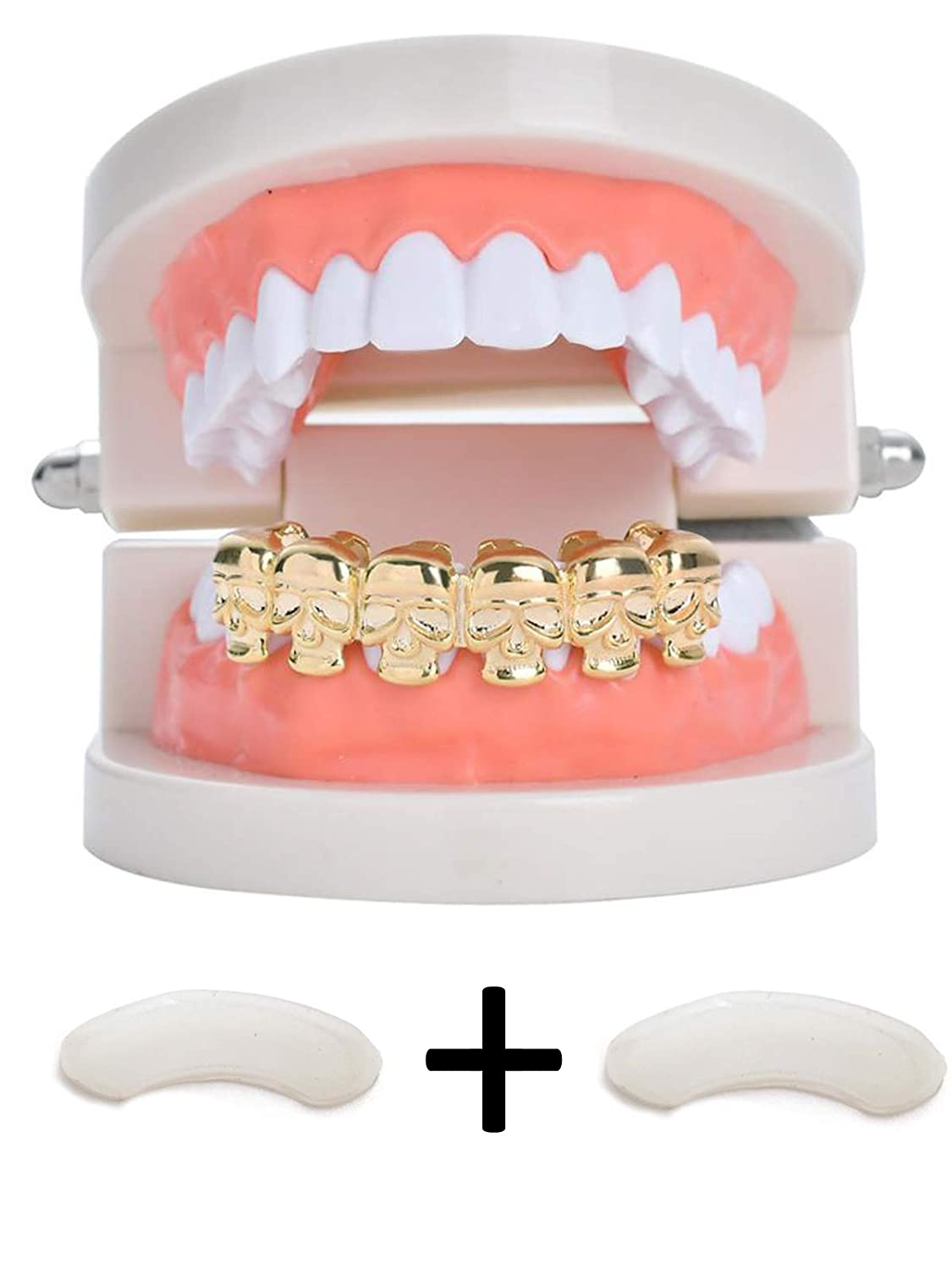 TSANLY Skull Grillz Six Skull Bottom Teeth Grill 24 Gold Plated Rapper Grillz Gift for Halloween … Charly Shop