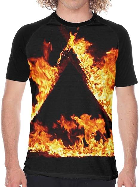 Triángulo Fuego Hombres Camiseta de Manga Corta Camisetas Béisbol: Amazon.es: Deportes y aire libre