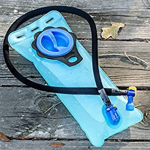 Aquatic Way Hydration Bladder Water Reservoir for Bicycling Hiking Camping Backpack. Non Toxic BPA Free, Easy Clean Large Opening, Quick Release Insulated Tube w/ Shutoff Valve (Blue 2L 2 Liter 70 oz)