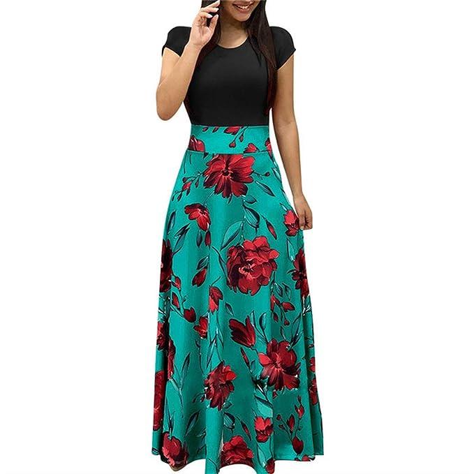 97cd51b233 Lovii Newest Vintage Floral Print Patchwork Long Dress Women 2019 Casual  Short Sleeve Party Dress Elegant