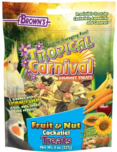 F.M. Brown's Tropical Carnival Fruit and Nut Cockatiel Conure and Lovebird Pet Treat, 8-Ounce, My Pet Supplies