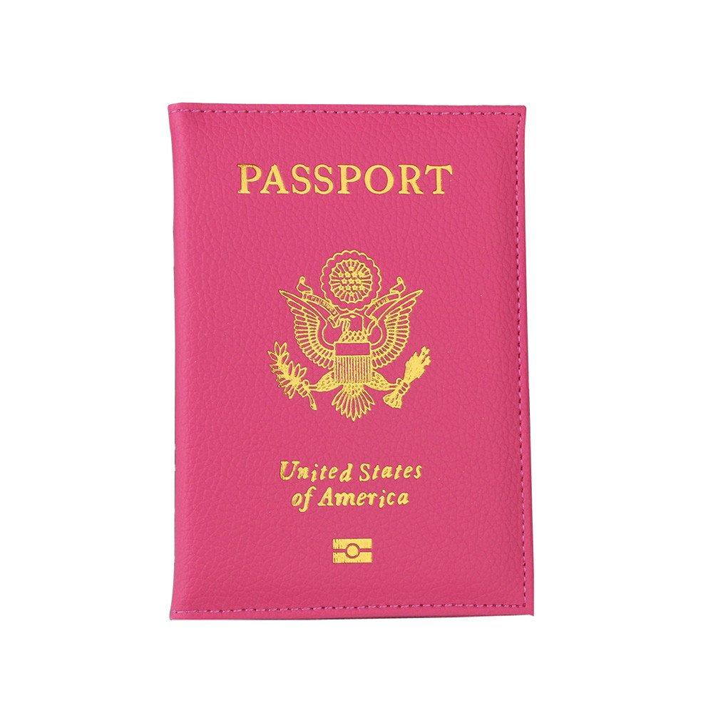 Travel USA Passport Cover Women Passport Holder Business Card for Passports Case Passport Wallet (Hot Pink)