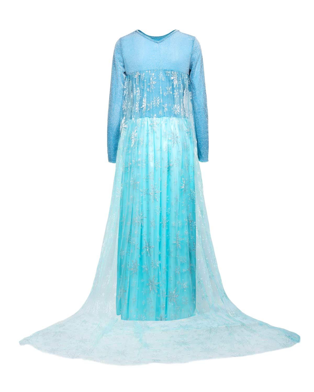 Nofonda Damen Elegantes Prinzessinnen-Kost/üm ELSA Blau Fasching Halloween Kost/üm Cosplay blau xs