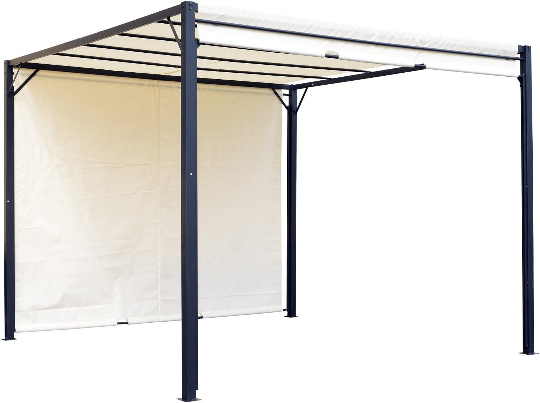 Outsunny Pérgola 3x3m Gazebo Cenador con Techo Retráctil y Pared Lateral Acero Versátil para para Jardín Patio o Terraza Tela Poliéster