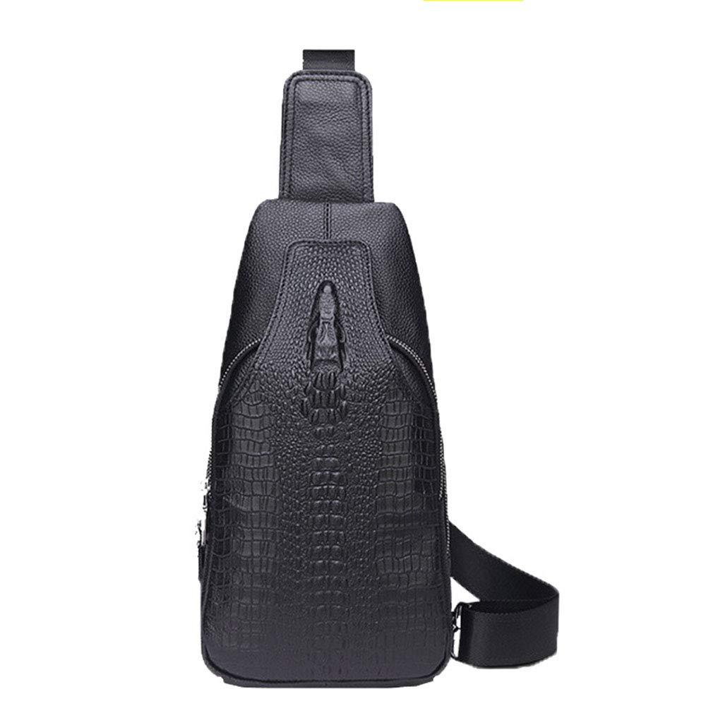 Liuxiaoqing Herren Brusttasche Leder Freizeit Schultertasche Top Layer Krokodilmuster Crossbody Bag