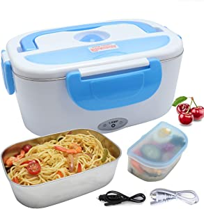 TLOG Car Electric Lunch Box, Portable Food Warmer Heating, Food-Grade Stainless Steel Container, 12V 110V 40W Adapter, Car Truck Home Work Use, Spoon and 2 Compartments Included (Blue)