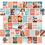 Artivo Peach Teal Aesthetic Wall Collage Kit, 50 Set 4x6 inch, VSCO Girls Bedroom Decor, Orange Boho Dorm Wall Decor, Photo Collection