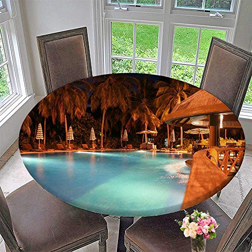 Round Polyester Tablecloth Table Cover A Swimming Pool in Maldives for Most Home Decor 63