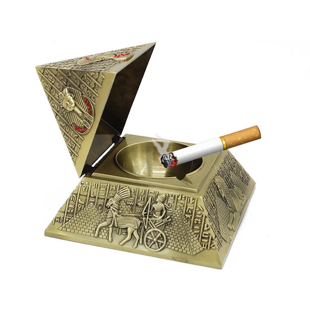 YJY^MAX Cenicero de Pyramid de Aleación de zinc para Cigarrillos o Puros con tapa , Tormenta de cenicero Ashtray Decorativo para el exterior y el interior , Sin malos olores. Fácil de lavar. Color plateado YJYMAX