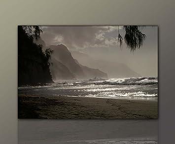 Wandbild Xxl Günstig U0026 Modern (Hawaiian_Morning 80x120cm) Hawaii Strand Deko  Bilder Fertig Gerahmt Mit Keilrahmen Riesig.