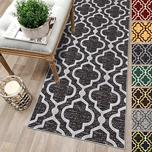 Custom Size 22-inch Wide x 23-feet Long ANTHRACITE BLACK Moroccan Trellis Rubber Backed Non-Slip Hallway Stair Kitchen Runner Rug Carpet Choose Your Length 22in X 23ft