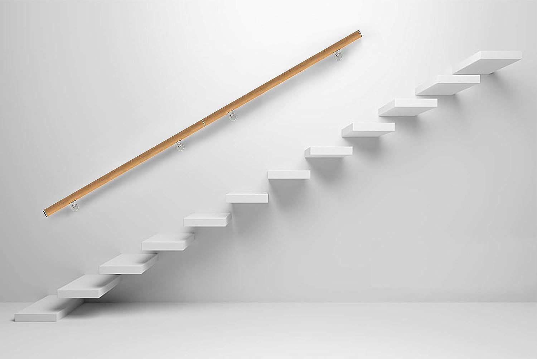 Pasamanos de madera de nogal de una sola pieza soportes y extremos procesados con soporte pasamanos de 30-500 cm para escaleras