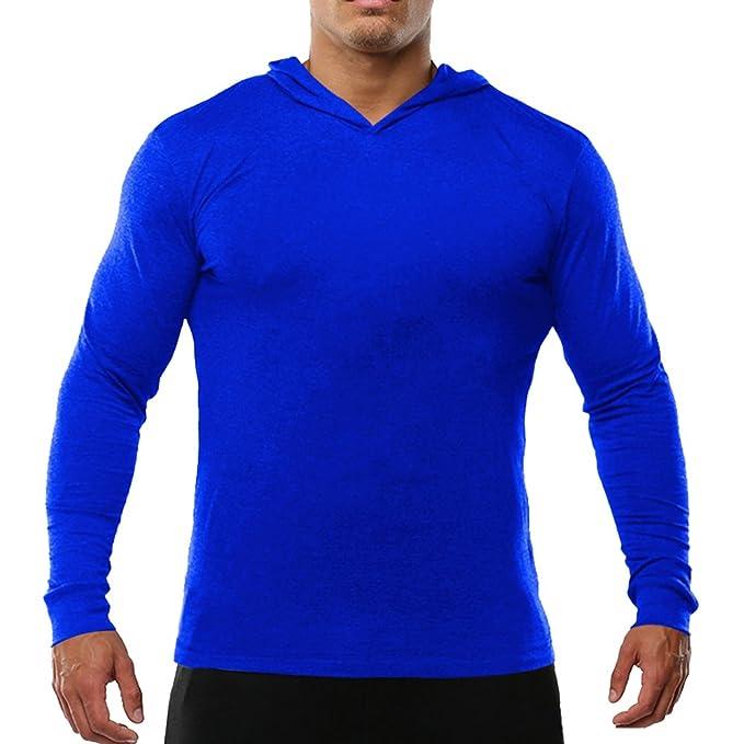 Alivebody Hombres camiseta manga larga con capucha deportiva HKXRljU