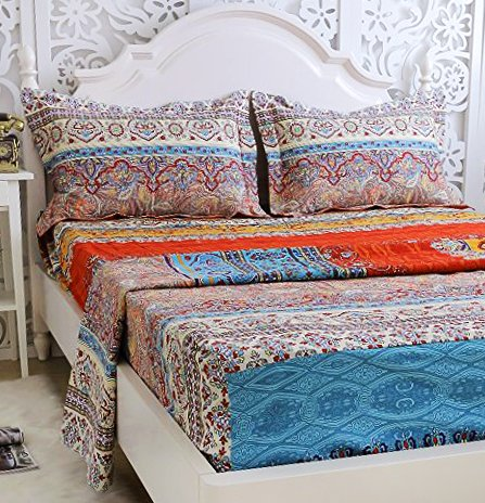 "FADFAY 100% Cotton Bed Sheet Set Boho Style Bedding Sets 4 Piece Bedding Set Floral 1 Fitted Sheet 1 Flat Sheet 2 Pillow Shams Soft Bohemia Stytle Full Size - Package includes: 1 fitted sheet:54''X75''+18''(W*L*H), 1 flat sheet:83''X96'', 2 shams:19''X29"". The pocket deep is 15.7 inches with one circle HIGH QUALITY elastic, not just the corners, it's one circle! Material:100% brushed cotton, the tread count is over 1000, super soft warm and comfortable, reactive dyeing,fastness. - sheet-sets, bedroom-sheets-comforters, bedroom - 61Qu0jqQHOL -"