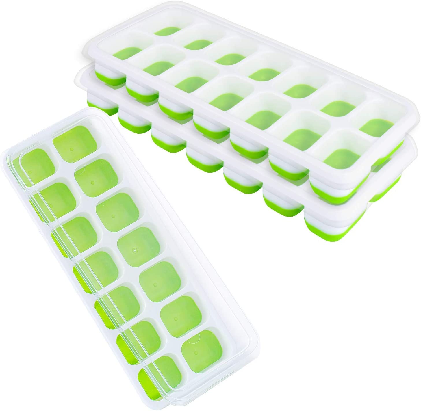 Ice Cube Trays, 3 Pack Silicone Easy-Release and Flexible Ice Trays with Spill-Resistant Removable Lid, Durable and Dishwasher Safe