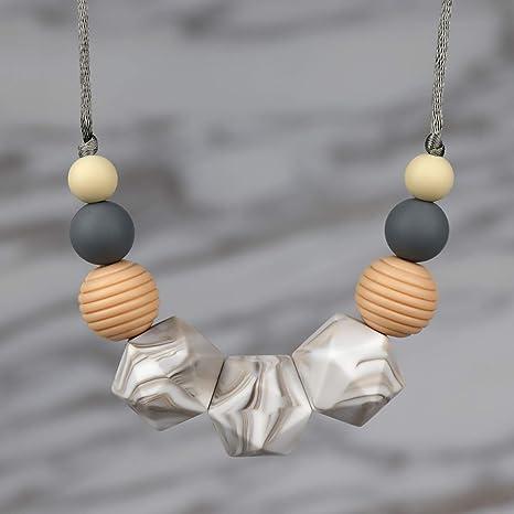 KEFU collar lactancia,Collar Mordedor de Lactancia para Bebé Mordedor sin BPA Silicona Antibiótico Cómodo use collar Hermosa Moda (Canica)