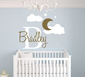 """Custom Name & Initial Moon Clouds Stars - Baby Boy - Nursery Wall Decal For Baby Room Decorations - Mural Wall Decal Sticker For Home Children's Bedroom (MM109) (Wide 42"""" x 32"""" Height)"""