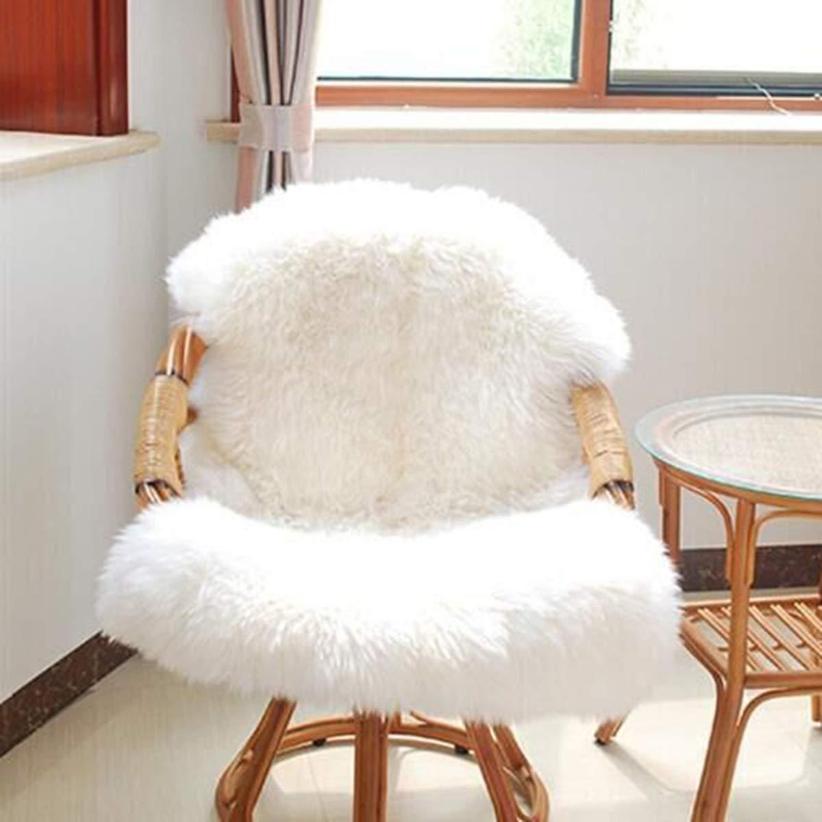 Owlike 1PC Super Soft Carpet Mat Blanket Chair Cover Cushion, Comfortable Fluffy Seat Cushion, Sofa Cover Cushion White 6090