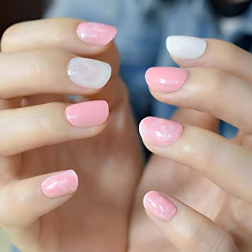 Amazon Com Candy Color Acrylic Nails Light Pink Marble