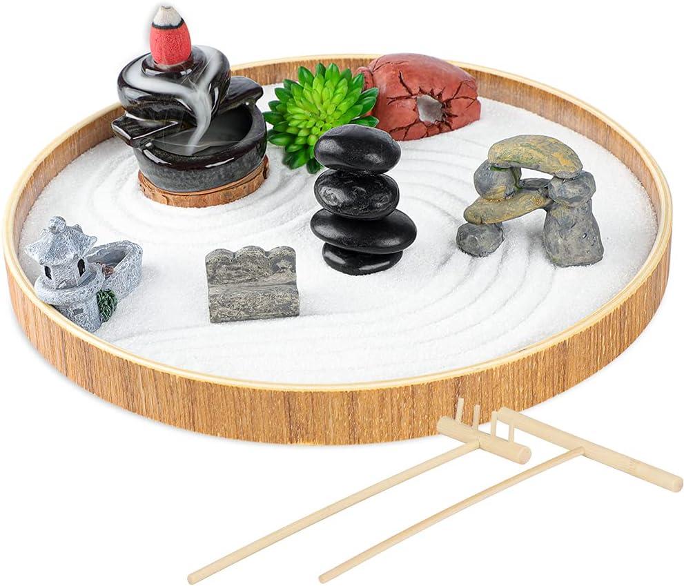Set of 15 Zen Sand Garden for Desk, DIY Zen Garden Tabletop Rock Figure Lotus Plant Rake Tools Meditation Zen Home Office Decor Accessories Micro Landscape Sandbox Stress Relief Toy Gift