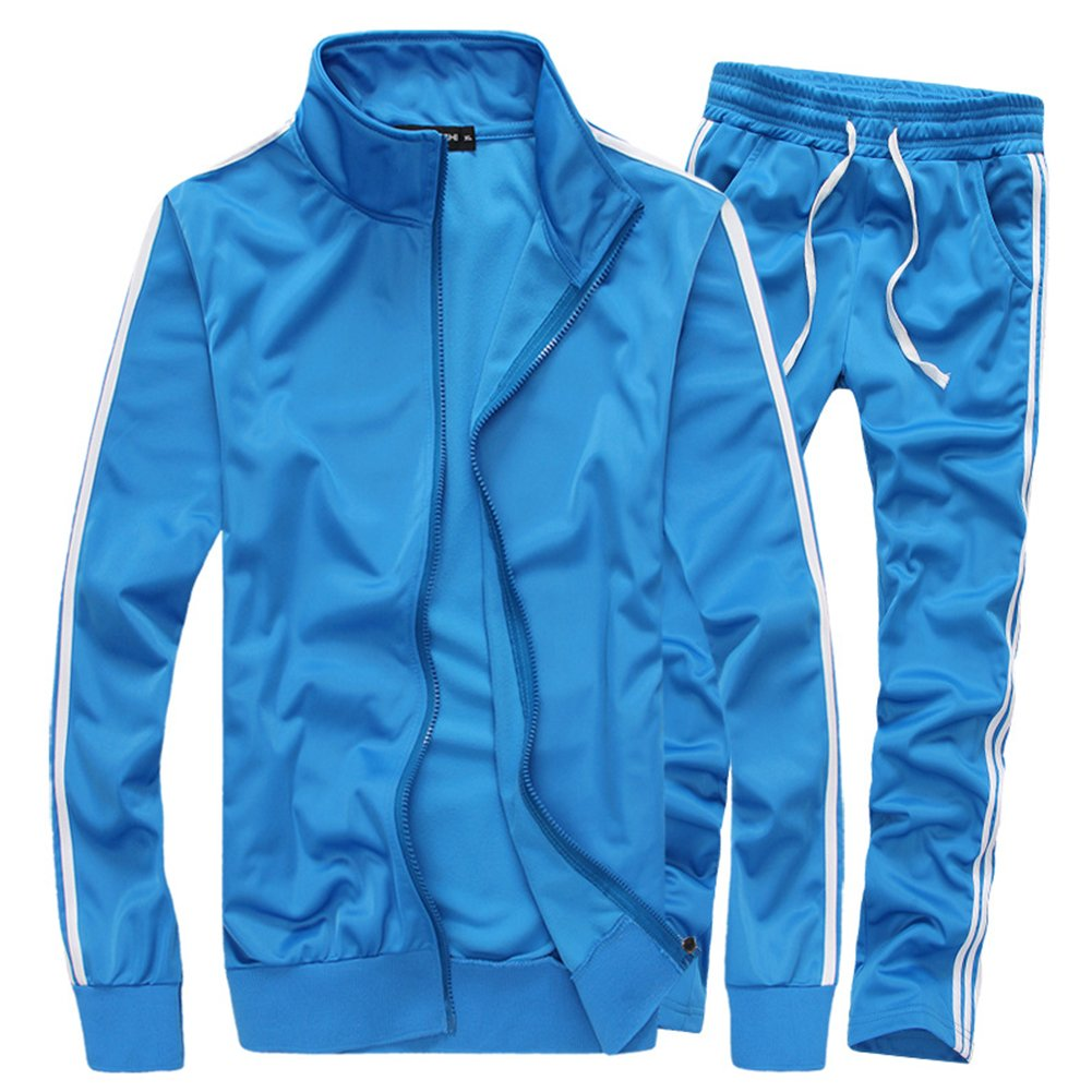 MACHLAB Men's Classic Striped Athletic Tracksuit Sports Sets Casual Sweat Suit Light Blue M