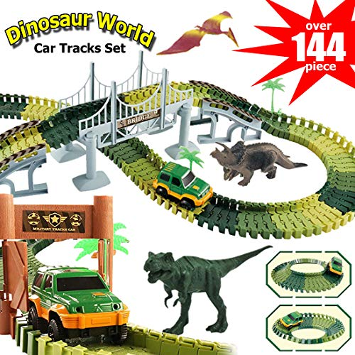 Dinosaur Tracks, Electric Car Toy, 144 Piece Train Tracks for Kids, Jurassic World Dinosaur Toy, Race Tracks, STEM Toys, T Rex, Create A Road Playset, 3 4 5 6 7 8 Year Old Boy Toys,Toddler, Kids Gift]()