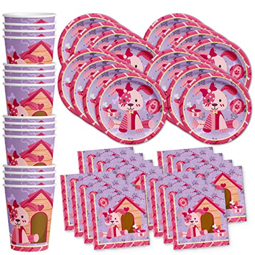 Pink Girl Puppy Dog Birthday Party Supplies Set Plates Napkins Cups Tableware Kit for 16 by Birthday Galore ()