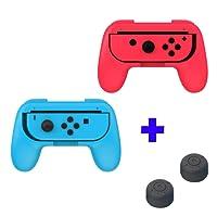 Qumox Dobe Ergonomic Design Controller Joystick Handle Grip L+R Travel Holder Case set - Red/Blue & Thumb Grip Stick Covers set - Black For Nintendo Switch Joy-Con